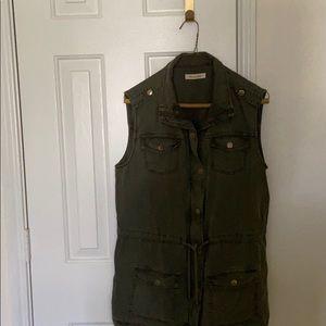 CLEARANCE: Olive green denim sleeveless jacket
